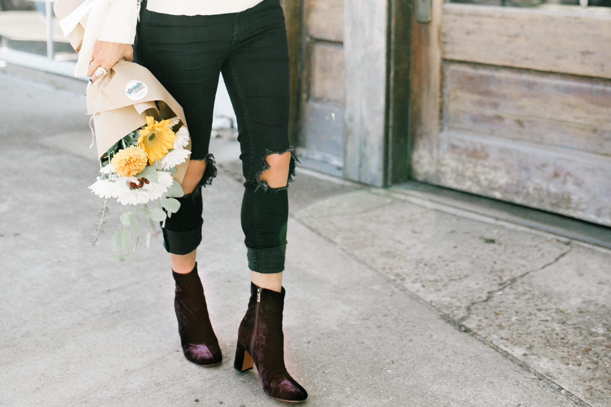 fall trends velvet booties