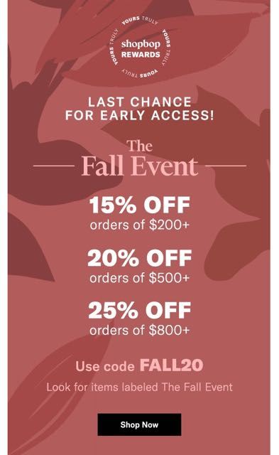 shopbop fall sale