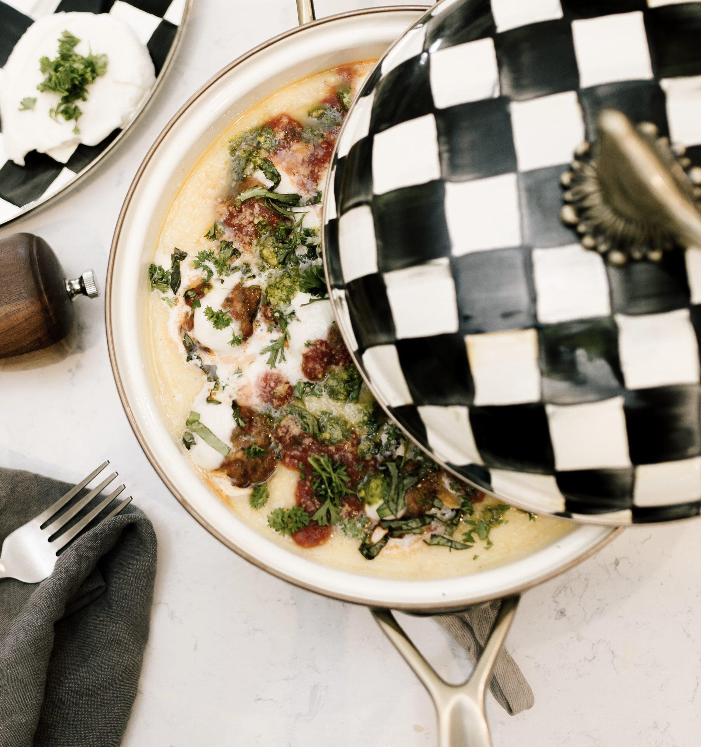 creamy polenta with meatballs